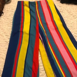 Pants - COLORFUL STRIPPED FLOWY PANTS